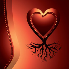 red love heart with root , symbol of stability