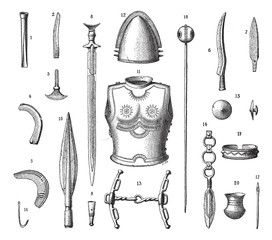 French Armor and Weapons During the Younger Bronze Age, vintage