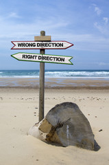 Double directional signs – wrong direction  right direction