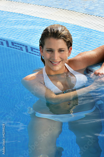 Hot blond woman in the swimming pool stock photo and - Swimming pool marie madeleine lyrics ...