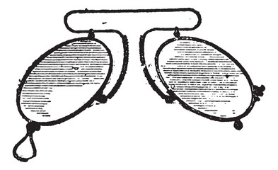 Glasses, a nose clip spacing mobile, vintage engraving.