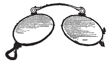 Glasses, ordinary nose clip, vintage engraving.