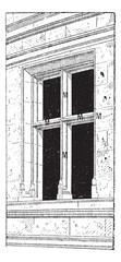 Mullion and Transom, vintage engraving