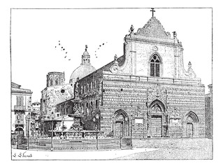 Cathedral of Messina, in Sicily, Italy, vintage engraving