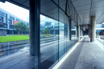 empty long corridor in the modern office building
