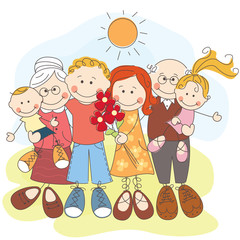 Vector illustration of generation happy family