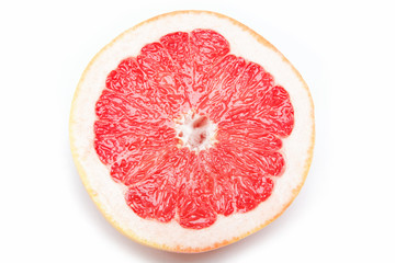 Fresh grapefruit on a white background.