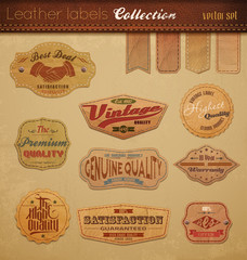 Fotorolgordijn Vintage Poster Leather Labels Collection.