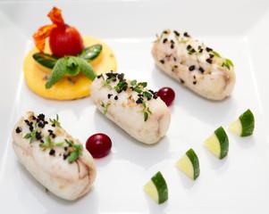 Fish rolls in plate