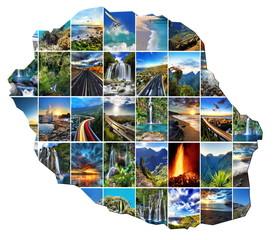 Carte de La Réunion et ses paysages variés.