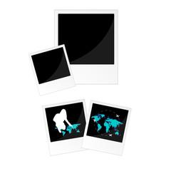 travel picture frame in black color illustration
