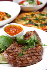 beef steak and various cuisene