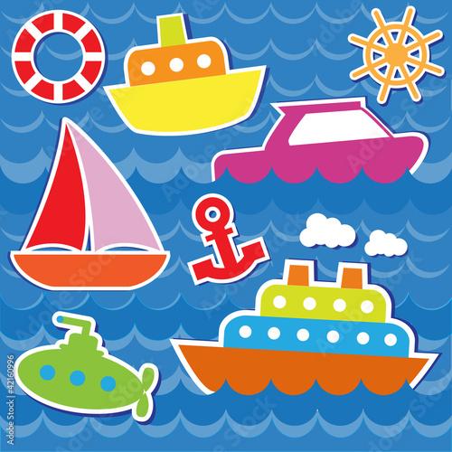 лодка с якорем рисунок