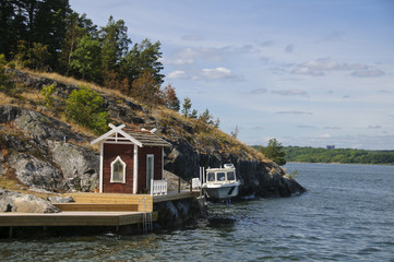 Swedish red cottage on a small island