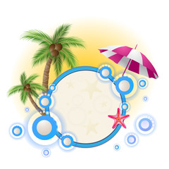 Summer background with palm trees and umbrella