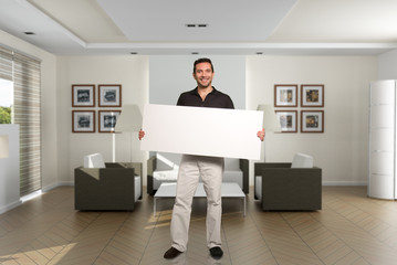Man with message at home