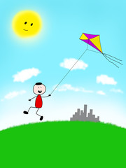 Child running with kite on the field away from city