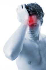 men with headache on white background