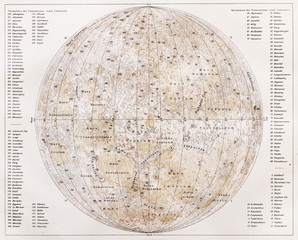 Vintage map of the moon from the end of 19th century