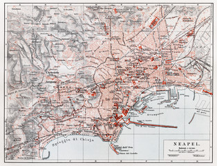 Vintage map of Naples (Napoli) at the end of 19th century