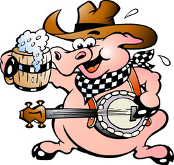 Garden Poster Wild West Hand-drawn Vector illustration of an pig playing banjo