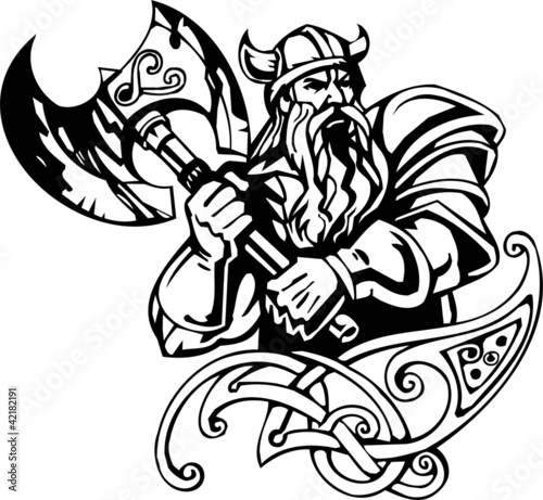 Nordic viking black white vector illustration vinyl ready