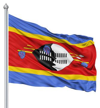 Waving flag of Swaziland