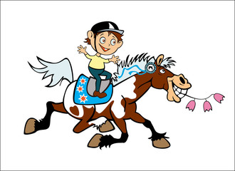 Wall Murals Pony little boy on pony back
