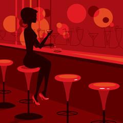 girl sitting in the lounge bar