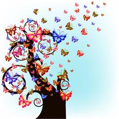 Fond de hotte en verre imprimé Hibou Tree with butterflies