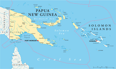 Papua New Guinea political map with capital Port Moresby, national borders, most important cities, rivers and lakes. Illustration with English labeling and scaling. Vector.