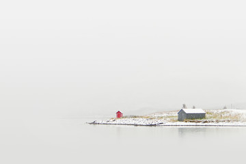 Cottage on winter coast