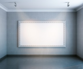 nterior gallery with  empty big frame