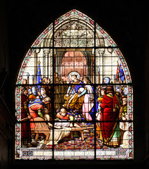 Window in church of Compiegne, France, UNESCO