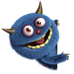 Zelfklevend Fotobehang Sweet Monsters blue furry alien