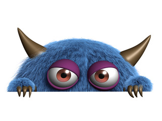 Zelfklevend Fotobehang Sweet Monsters cute furry alien