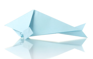 Origami fish out of the blue paper isolated on white