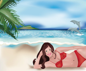 girl lying on beach and dolphins