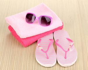 Beach accessories on mat