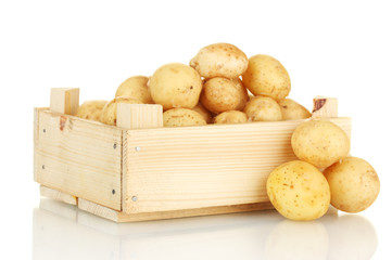 young potatoes in a wooden box isolated on white close-up