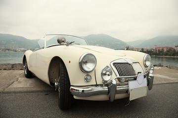 Foto op Plexiglas Oude auto s Classic sport white car