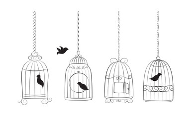 Deurstickers Vogels in kooien Birds in cages