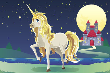 In de dag Pony Unicorn in the castle