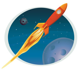 Deurstickers Kosmos Spaceship Flying Through Space Banner