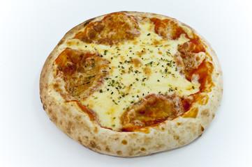 pizza margarita de masa gruesa