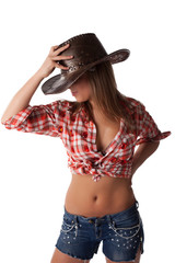 Blonde young woman in cowboy hat