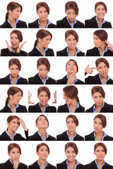 emotional collage of a businesswoman's faces
