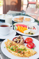delicious breakfast outdoors