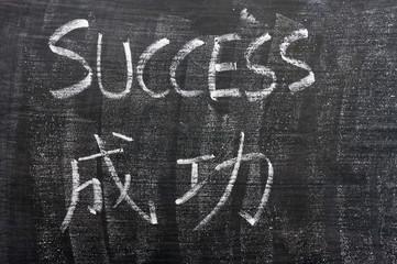 Success - word written on a blackboard