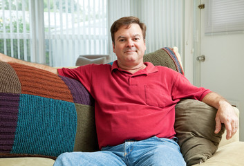 Mid Adult Man Relaxing at Home